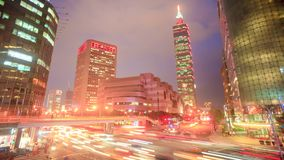 Time lapse of traffic Xinyi road and view of taipei at night, Taiwan. The time lapse of traffic Xinyi road and view of taipei at night, Taiwan stock footage