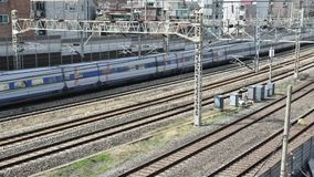 Time lapse. Trains passing on Rails, in Seoul City ,South Korea. Time lapse. Trains passing on Rails, in Seoul City ,South Korea stock footage