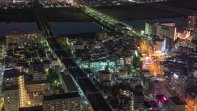 Japan train and traffic at night time lapse 4K stock video footage