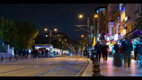 Time lapse Sultanahmet tram stop, Istanbul, Turkey stock video