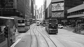 Time Lapse of Tram through the streets of Hong Kong stock video