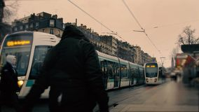 Time lapse of road junction in Paris by the Seine River stock video footage