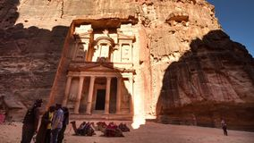 Time lapse of the Treasury, Petra, Jordan stock footage