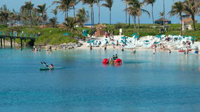 Time Lapse of Tropical Bahamas Resort Beach. Busy beach in the Bahamas stock footage