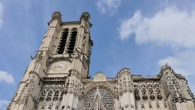 Troyes cathedral, in France. Time lapse of the troyes Cathedral, a Roman Catholic church, dedicated to Saint Peter and Saint Paul, located in the town of Troyes stock footage