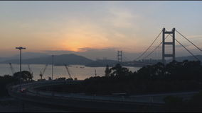 Time lapse of Tsing Ma Bridge at Summer in Hong Kong. stock video footage
