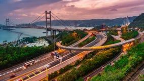 Time lapse Tsingma bridge in Hongkong at night
