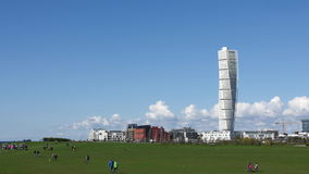 Turning Torso Malmo. A time lapse of the Turning Torso with moving clouds behind it, the highest building in Malmoe, southern Sweden designed by architect stock footage