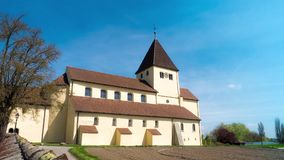 Time lapse.UNESCO. The old church built in the 9th century. located in Germany, on the island of Reichenau. The church belongs to. The world heritage of UNESCO stock video