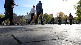 Time lapse of Union Square in the fall. Time lapse video of Union Square in New York City on a typical busy and crowded afternoon stock footage