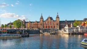 Time lapse video of Amsterdam Centraal station in Amsterdam city, Netherlands stock video footage