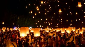 Time Lapse video 4k, Floating lanterns on sky in Loy Krathong Festival