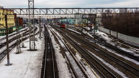Time lapse video of locomotives and trains at the railway junction. Locomotives and trains at the railway junction stock video