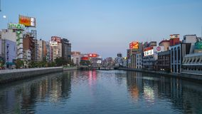 Time lapse video of Naka River in Hakata, Japan stock video footage