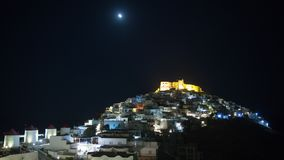 Time lapse night to day in the Chora of Astypalea island stock video footage