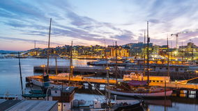 Time Lapse video of Oslo city, Oslo port with boats and yachts at twilight in Norway stock footage