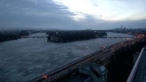 Time lapse video overlooking Ushakovskay embankment of the Neva river in St. Petersburg. 1 january 2017. Saint-Petersburg. Time lapse video overlooking stock footage