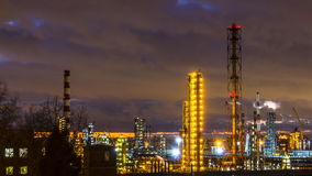 Time lapse video of panoramic view of oil refinery stock video footage