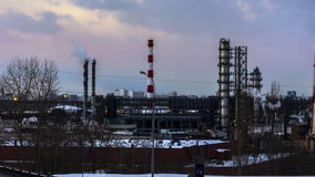 Time lapse video of panoramic view of oil refinery stock video