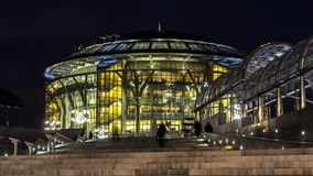 Time lapse video of people hurrying to the beginning of  concert in Moscow house of music stock video