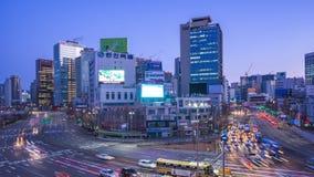 Time lapse video of Seoul city traffic street in Seoul, South Korea stock video
