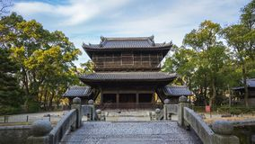 Time lapse video of Shofukuji zen temple landmark in Hakata, Fukuoka, Japan timelapse 4K.  stock footage