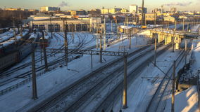 Time lapse video of trains in railway junction in winter day. Time lapse video of trains in railway junction stock footage