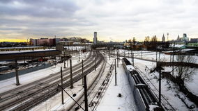Time lapse video of trains in railway junction. In winter day stock footage