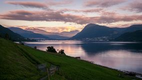 Time-lapse view on Ørsta in Norway stock video footage