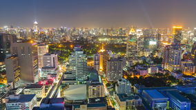 Time lapse view of Bangkok skyline at night.Thailand stock video footage