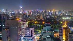 Time lapse view of Bangkok skyline at night.Thailand stock footage
