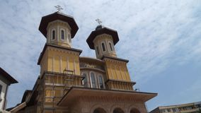Time lapse view of a cathedral in Buzau stock video