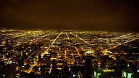 Time Lapse View of Chicago Skyline at Night - 4K - 4096x2304 stock video footage