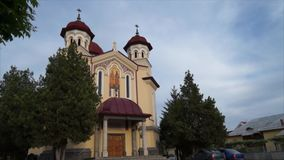 Time lapse view of a church in Targu Jiu stock video footage