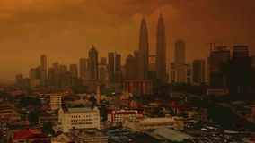 Time lapse view of city during sunset stock footage