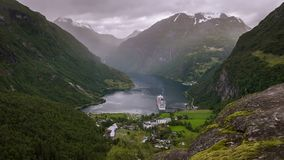 Time-lapse of view on Geirange in Norway stock video footage