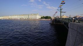 Time lapse view from Palace Bridge on Neva river, Saint-Petersburg, Russia. stock video