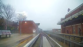 Time lapse view from railway train on changing location of suburban London on cloudy day. Modern London downtown in time lapse view stock video