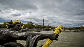 Time lapse view of Seine River and Paris skyline stock video