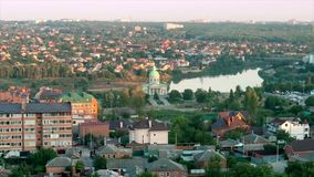 Time lapse. Surb Khach Church near the lake view from the roof of the city of Rostov-on-Don