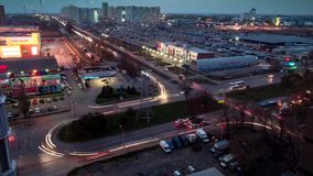Time lapse. View from the roof of the night traffic on the outskirts of the city of Rostov on Don, when everyone is going home