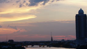 Time-lapse View of sunset over chaophraya river bangkok Thanlabd,Pan effect stock video