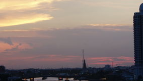 Time-lapse View of sunset over chaophraya river bangkok Thanlabd,tilt effect stock footage