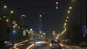 Time-lapse of Warsaw at night stock footage