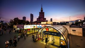Time lapse of warsaw subway centrum stock footage