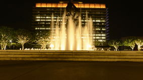 Time Lapse of Water Fountain in Downtown Los Angeles at Night stock video footage