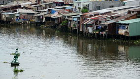 Time Lapse of Water and Shacks on the Saigon River - Ho Chi Minh City (Saigon) stock video footage