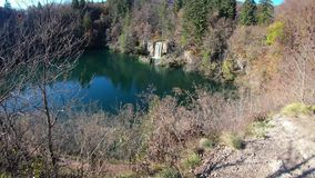 Time Lapse of waterfall cascade scenery in Plitvice Lakes, Croatia. stock video footage