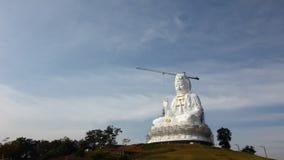 Time Lapse of white big Quan Yin Buddha Statue, wathyuaplakang, Chiang rai, Thailand. stock footage
