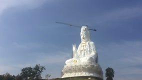 Time Lapse of white big Quan Yin Buddha Statue, wathyuaplakang, Chiang rai, Thailand. stock video footage
